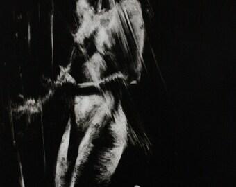 Haunting Figure Monotype Print, Descent IX