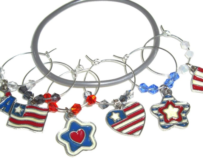 Fourth Of July Wine Charms - Pack of 6