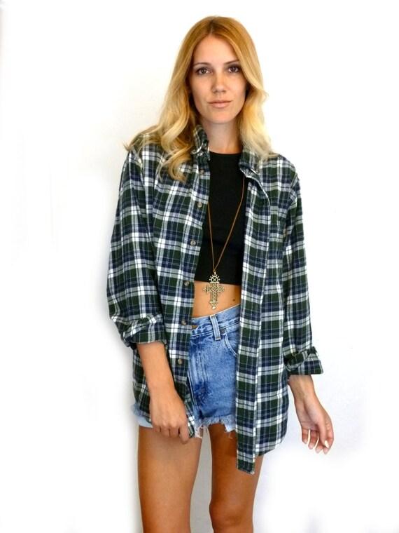 90s green plaid flannel oversize grunge shirt womens vintage for Oversized plaid shirt womens
