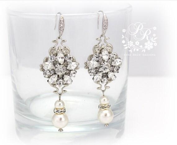Wedding Earrings Swarovski Pearl rhinestone Sterling Silver Ear hook Bridal earrings Wedding Jewelry Bridal accessory daisy