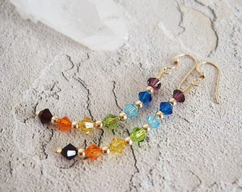 Chakra Rainbow Earrings - Swarovski Crystals, Gold-filled