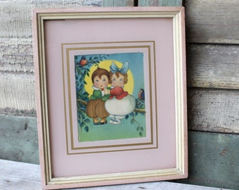 Darling YOUNG LOVERS Vintage Framed Print 1930s/1940s Kewpies Lovers on a Branch - Bluebirds - Pink Shabby Cottage Chic Romance Wedding