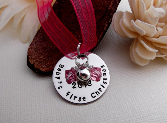 Baby's First/Yearly Christmas Hand Stamped Christmas Ornament- Personalized Christmas Ornament