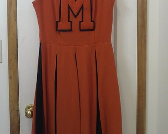 SALE!!!  1960's authentic MHS Cheer uniform, orange & black