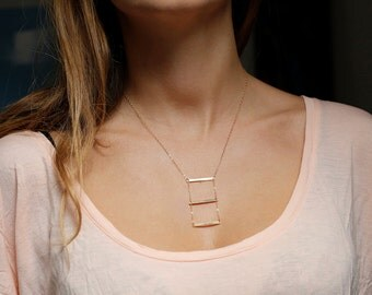Bar necklace, Gold Horizontal Bar Necklace, Triple Bar Necklace, Geometric Jewelry, Geometric Necklace
