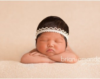 Ivory Newborn Headband Vintage Photo Prop Halo Headband