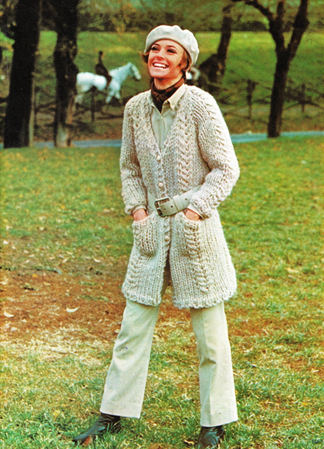 Knitting Pattern Chunky Cable Cardigan : KNITTING PATTERN Chunky Cable Sweater Knitted Jacket Cable