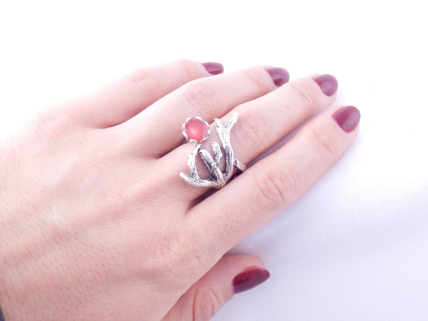 red twig ring silver branch ring silver tree ring red wood