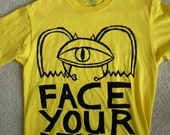 face your demons t-shirt -- eating disorder / anorexia / bulimia / depression / addiction recovery -- yellow, adult medium