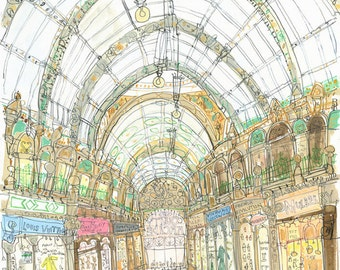 LEEDS SHOPPING PRINT, County Arcade Painting Art Print Yorkshire England, Signed Giclee Victorian Architecture, Arcade Shops Clare Caulfield