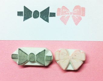 Bow Rubber Stamp Ribbon Stamp, set of 2 - wedding stamp, Bow handcarved stamp, Ribbon hand carved stamp, love stamp, bow stamp