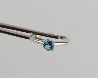 Sterling Silver Ring - Swiss Blue Topaz Ring - Friendship Ring -  Promise Ring - Everyday Ring with a 5mm Natural Swiss Blue Topaz