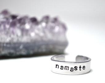Namaste Ring. Hand stamped ring. Namaste.