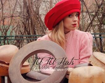 Winter hat Red felt cloche women wide brim hat vintage style handmade hat, gatsby style