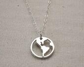 World Necklace Sterling Silver - Traveler Pendant, Journey Necklace
