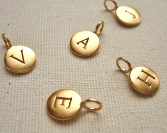 24K Gold Plated Stamped Initial Charm Personalized Monogram Disc - Your Choice of Letter