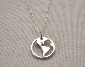 World Necklace Sterling Silver - Traveler Pendant, Journey Necklace