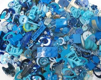 Blue Charm Grab Bag - Mystery Bag 25 pieces - DIY Charm Bracelet Kitsch Charms - Kawaii Charms - Decoden Supplies - Blue Charms Mix