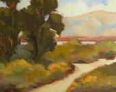 Eucalyptus Twins - California landscape plein air 12x6 oil painting rectangular