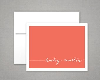 Stationary Set  |  Personalized Notes | Folded Note Cards | MODERN CALLIGRAPHY | Colorful Printed Personalized Stationary