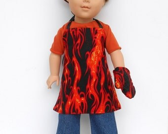 18 Inch Boy Doll Clothes, Chef's Set, Boy Doll Chef's Set, Orange Flame Apron, Chef's Hat and Oven Mitt, Made to Order
