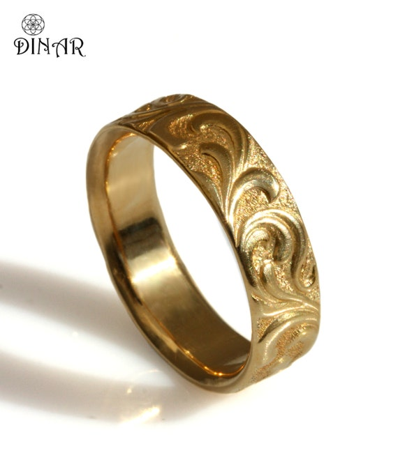Scrolls Wedding Ring Textured Vintage Wide Band 14k