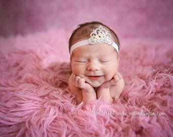 Baby Tiara Headband, Baby Tiara, Newborn Headband, Photo Prop, Pink Tiara, Infant, Hair Acessories, Baby Headbands, Princess Headband, Tiara