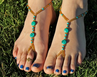 Gold and Turquoise Barefoot Sandals, Slave Anklet, foot thong, ankle bracelet with toe ring