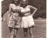 1950s Bathing Buddies Vintage Black & White Photo