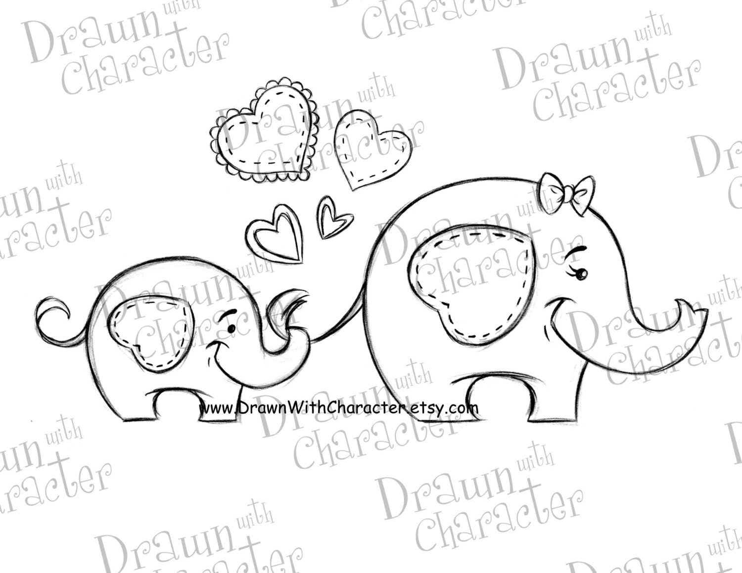mommy and baby elephant mother u0027s day digital stamp
