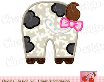 Cow Machine Embroidery Applique Design -4x4 5x5 6x6 inch