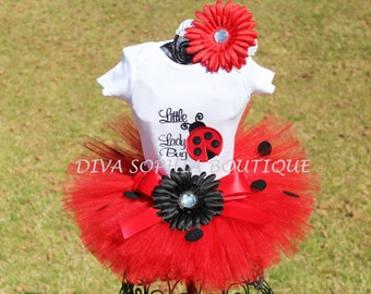 Little Lady Bug Tutu Set - Birthday Tutu Set - Infant - Toddler up to Size 4T