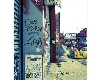 I Love Detroit - Graffiti Photograph