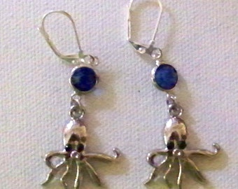 "1"" Octupus with pretty Royal Blue Crystal Pierced Earrings"