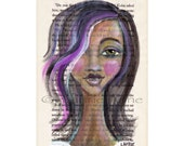 Modern African American Young Woman with Magenta Hair Streak, 4x7 Art Print on The Secret Garden Book Page