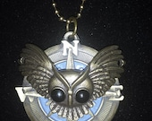 Steampunk Owl and Compass Necklace