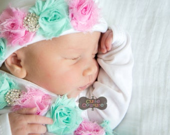 Baby Girl Hospital Outfit Photos, New Born Girl Hat Gown Outfit, Girl Baby Newborn Gift Boutique Style Outfit,