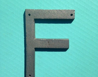 5 Inch Cast Iron Metal Letter F - WITH DRILL HOLES for Mounting