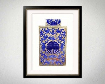 Ginger Jar Art, Gold Chinoiserie, Navy Gold Wall Art, Asian Decor, Navy Vase Print, Chinese Pottery Print, Asian Vase Art, Chinoiserie Chic