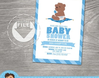 Baby Shower Invitation, Teddy Bear, DIGITAL FILES ONLY, 5 x 7 Card, A7 Note Card, Customizable Personalized Design.  Affordable