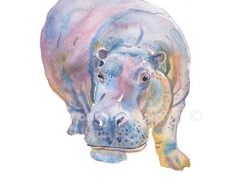 Hippo  - Animal Paintings - size 8x10inches - Watercolor  Painting- Nursery Art Print