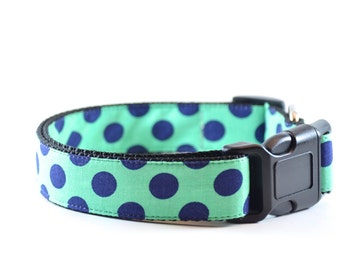 Turquoise Dog Collar - Preppy Polkadot Aqua Green Teal Blue and Navy Small and Large Dog Collar