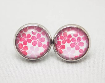 Glass Cabochon Earrings - Pink Flowers On A White Background - Silver Setting - One Pair
