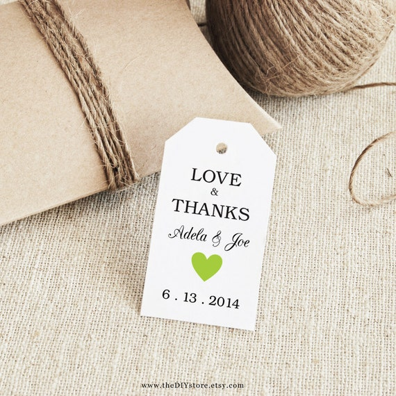 Favor Tag Printable, Text Editable, Col #40, SMALL size, Instant Download, Favor tag, Thank You Tag, Wedding Tags, Green Heart