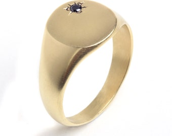 14K Gold plated Signet ring inlaid with Zircon, 14K Gold Filled Pinkie Signet ring inlaid with Zircon, Pinky Seal ring