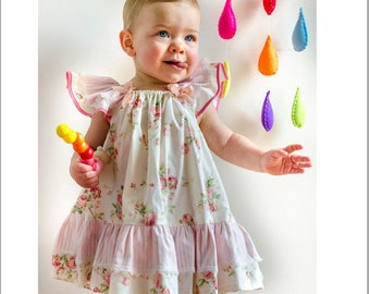 Sewing pattern, Butterfly Dress  baby & girl's dress pattern, children's sewing pattern sizes 6-9 mths to 10 yrs.