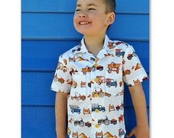 Boy's shirt pdf sewing pattern The Thomas Shirt sewing pattern, shirt pattern for 2 to 14 years. Hawaiian Shirt children's sewing pattern
