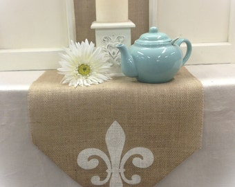 "Burlap Table Runner 16"" or 18"" wide with a Fleur de Lis on each end - Holiday decorating Home decor Wedding runner"