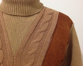 Vintage Suede Paneled Cable Knit Turtle Neck Sweater by Sarby Size Small/Medium