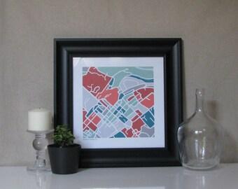 Downtown Lexington Map Print